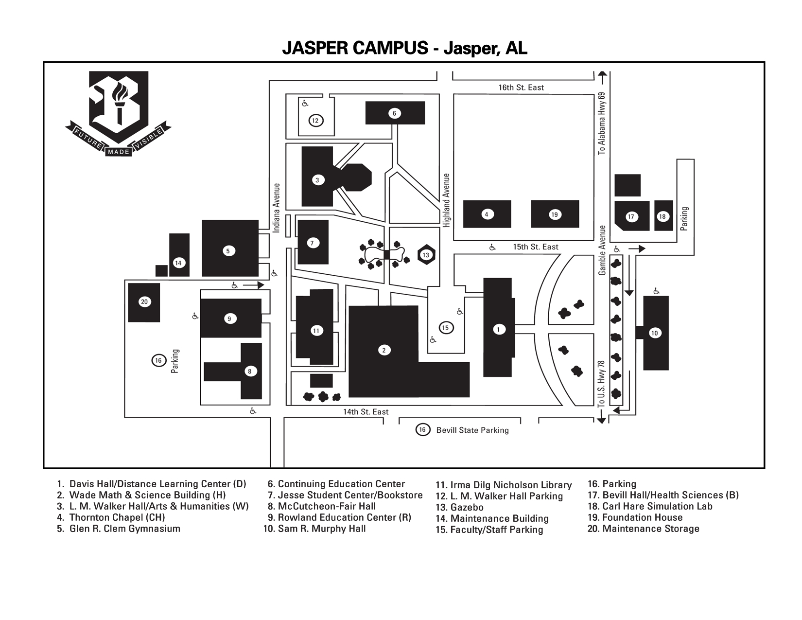 Bevill State Jasper Campus Map